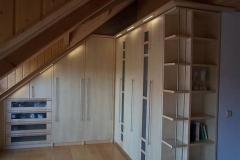 Schlafzimmereinbauschrank - Holzart europ. Ahorn mit Glasfüllungen