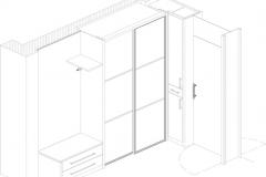 Beispiel CAD-Planung 3D Ansicht Garderobe